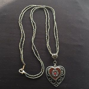 """Jewelry - New 16"""" SS and Seed Bead Heart Necklace"""